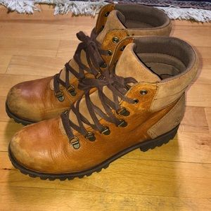 Timberland ribbon tie boots brown size 9